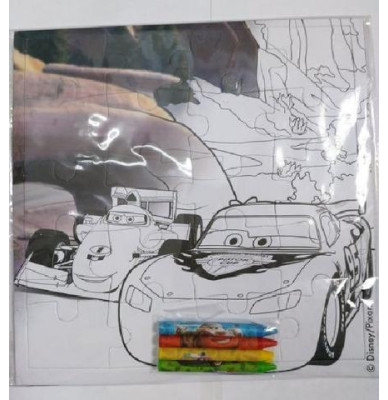 Cars Colouring Puzzle With 4 Crayons